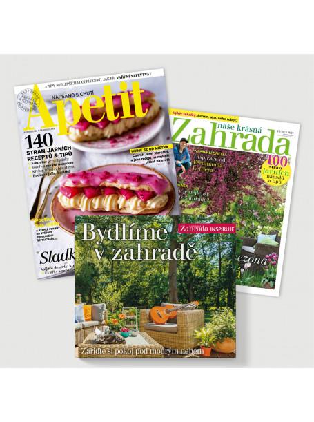 Půlroční předplatné Apetit + Naše krásná zahrada (6 vydání) + kniha Bydlíme v zahradě